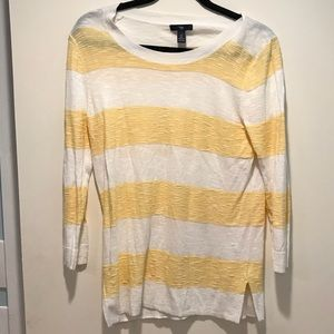 GAP Yellow and White Striped Sweater